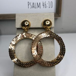 Sequin Round Gold ClipOn Earrings